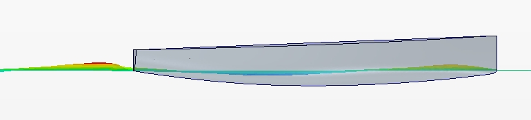 Free surface elevation from RANS-VoF CFD simulation of flow around BM70 yacht for resistance prediction